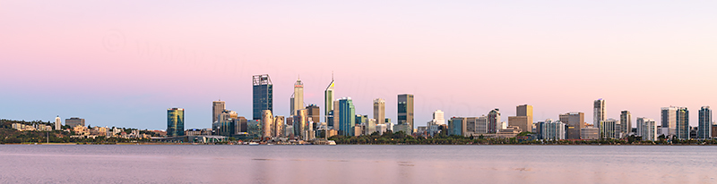 Perth and the Swan River at Sunrise, 17th February 2019