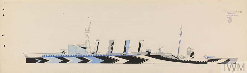 Dazzle design by Jan Gordon for  HMS Southampton [Port]. IWM.