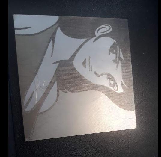 immagine raster rasterizzata su metallo ottenuta con laser fibra