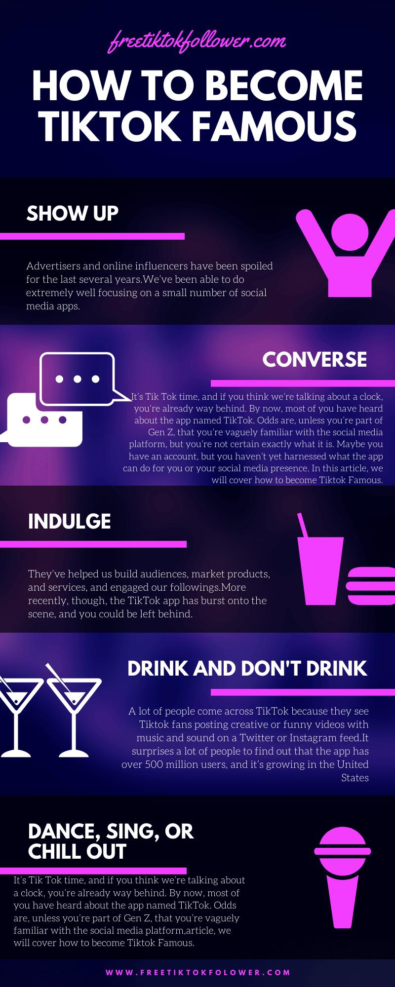 How to Become Tiktok Famous infographic by Freetiktokfollower.com