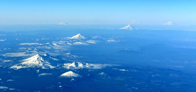 Mt Bachelor, Broken Top, Three Sisters, Mt Washington, Three Fingered Jack, Black Butte, Mt Jefferson, Mt Hood, Mt Adams,