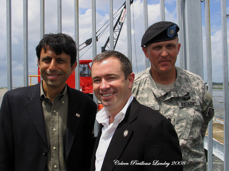 Louisiana Governor Jindal, Senate President Chaisson and U. S.  Army  Col. Starkel