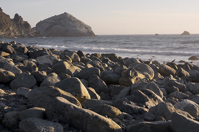 Evening Light Reflecting On The Rocks