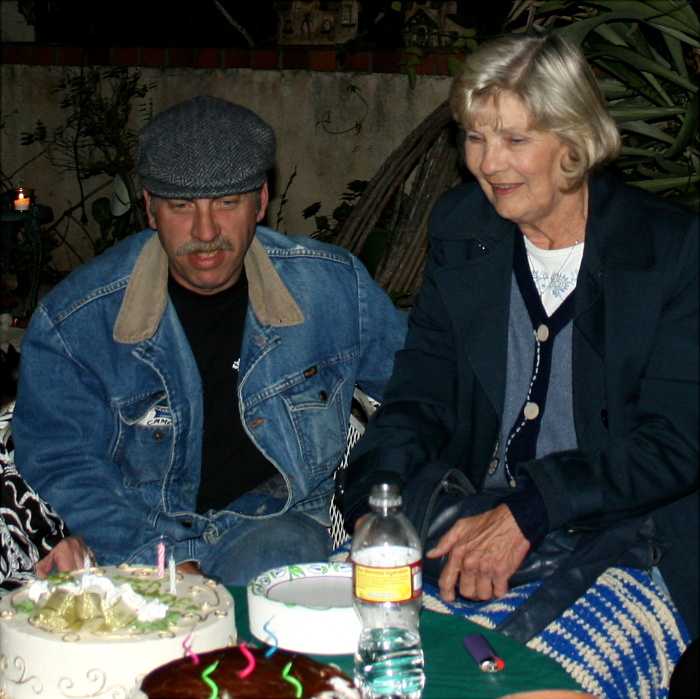 Joan and her son Jimmy...Joans 77 year birthday party