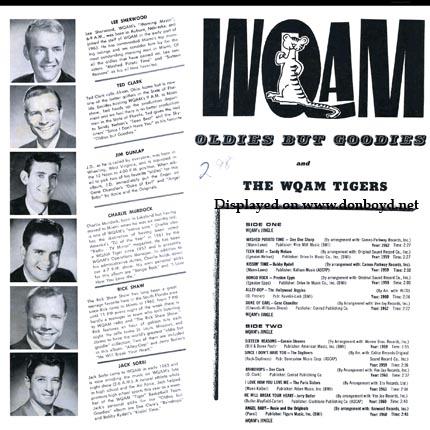 Mid 1960s - WQAM Oldies but Goodies record album back cover