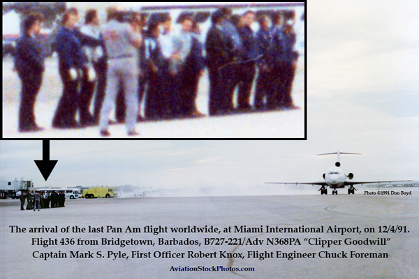 Dec. 4, 1991 - the last Pan Am flight worldwide (B727-221/Adv N368PA Clipper Goodwill) taxiing to the gate at MIA (story below)