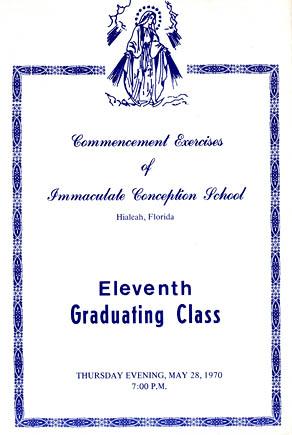 1970 - Immaculate Conception School 11th Graduating Class program