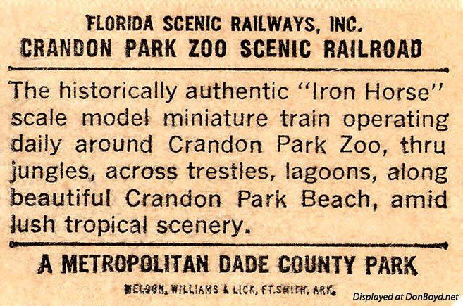 1970s - an Iron Horse Scenic Railroad at Crandon Park Zoo souvenir stub
