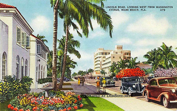 1940s Lincoln Road Viewed To The West At Washington Avenue Miami Beach