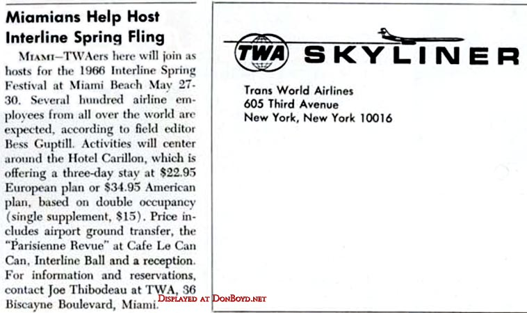 1966 - TWA Skyliner article about the 1966 Interline Spring Festival on Miami Beach