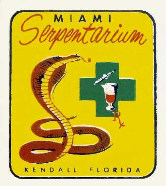 Bill Haasts Miami Serpentarium souvenir decal from the 1950s