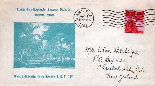1947 - Crandon Park and Rickenbacker Causeway dedication - Tequesta Festival - first day cover