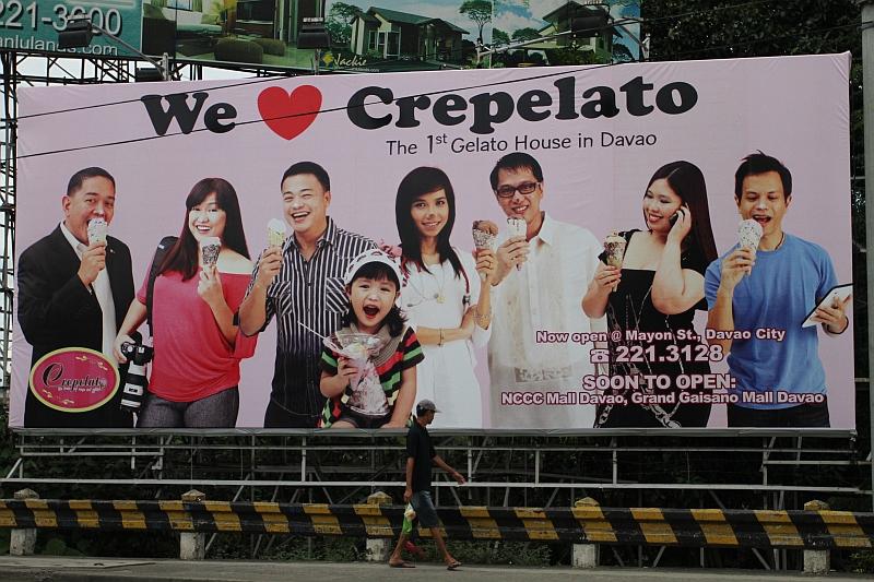 Crepelato billboard, Jojie Alcantara in pink blouse