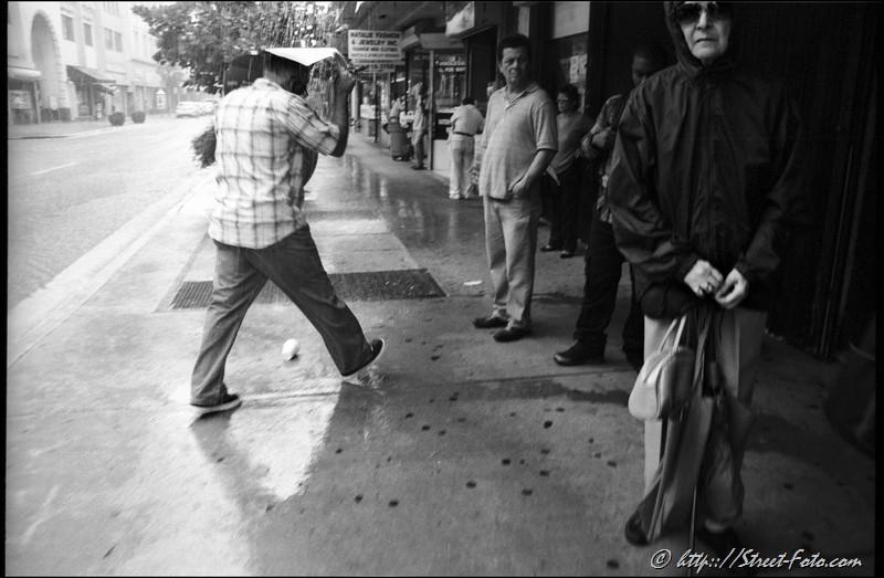 Downtown, rain