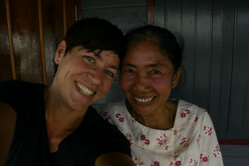 With guesthouse owner Saysamone in Laos