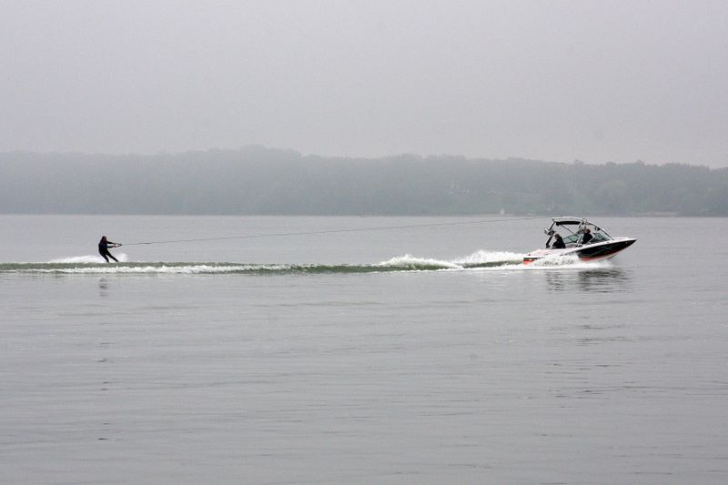 Skiing on Lake Monona, Madison