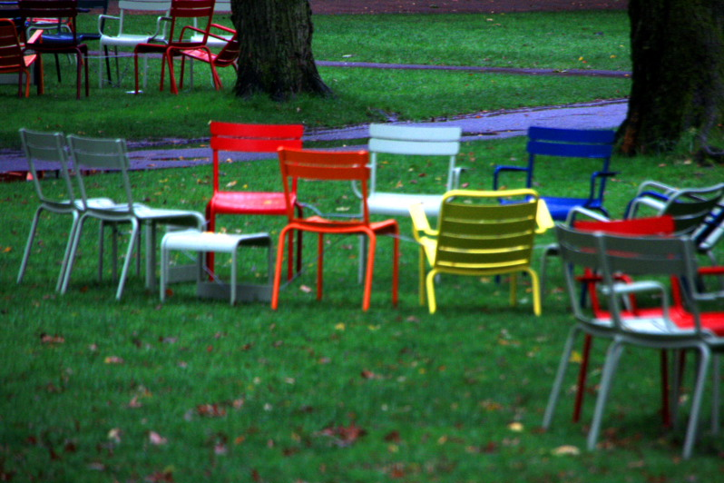 Harvard lawns and colorful chairs, Boston