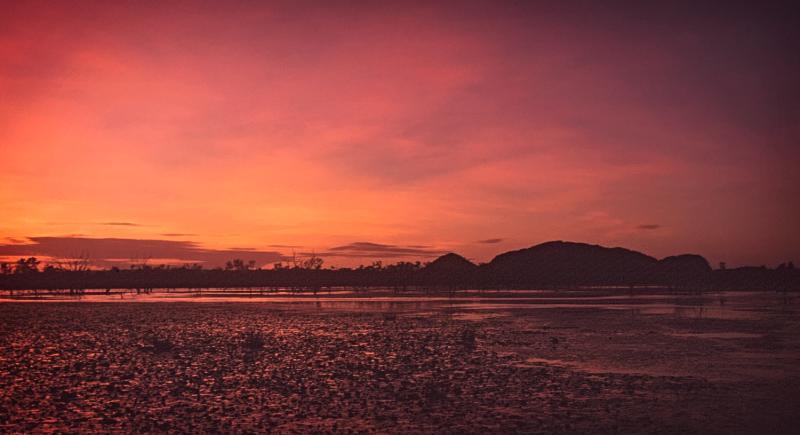 Lake Kununurra and Sleeping Buddha Rock sunrise