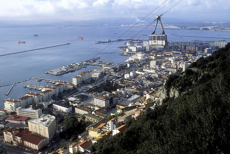Cable car on the western slope of the Rock of Gibraltar