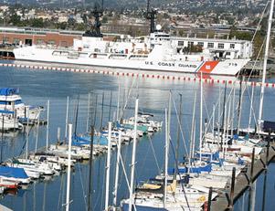 looking across Marina to Coast Guard Island