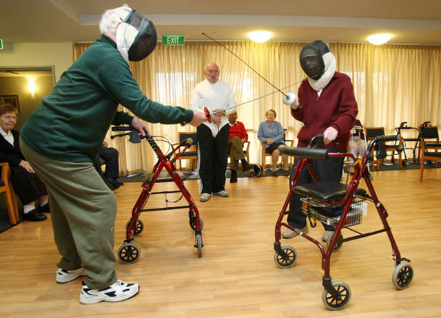 old people with walkers