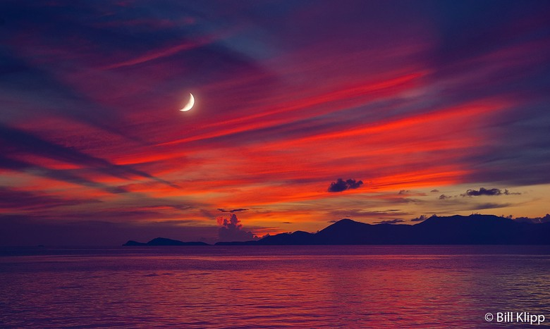 Moon and sunset  from Cooper Island  1