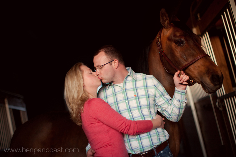 Engagement Photos in a barn with the couples horses.