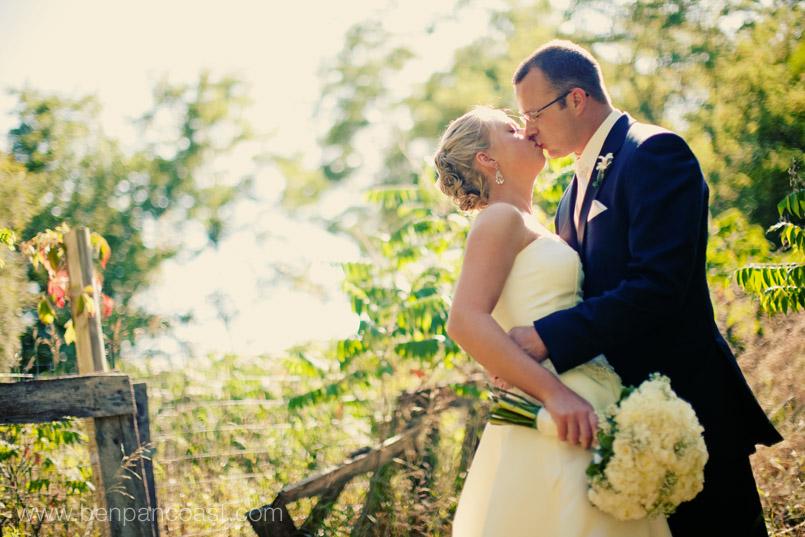 wedding portrait, field, barn, blue dress barn, bride and groom