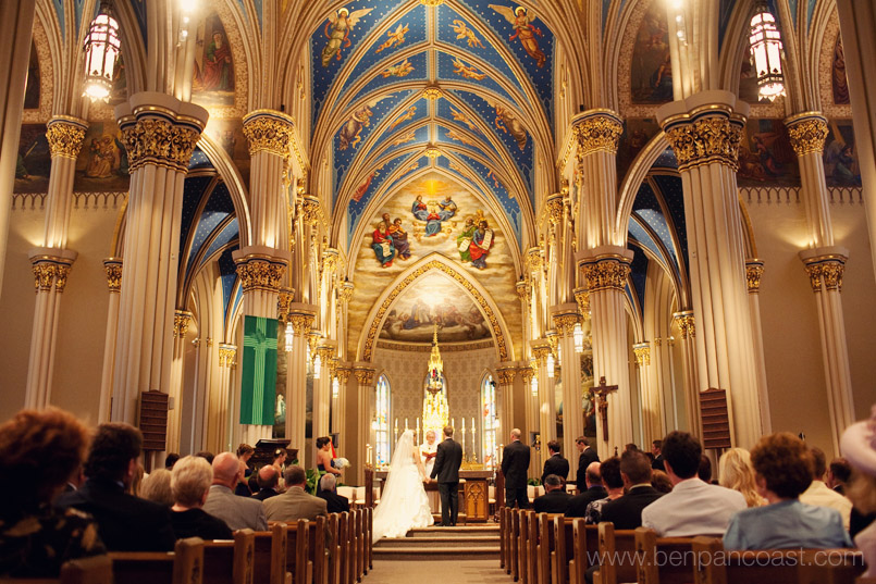 A wedding ceremony at the Basilica of the Sacred Heart at Notre Dame.