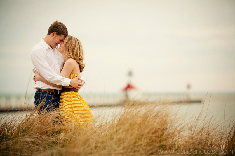 Engagement Photos at the beach by wedding photographer Ben Pancoast.