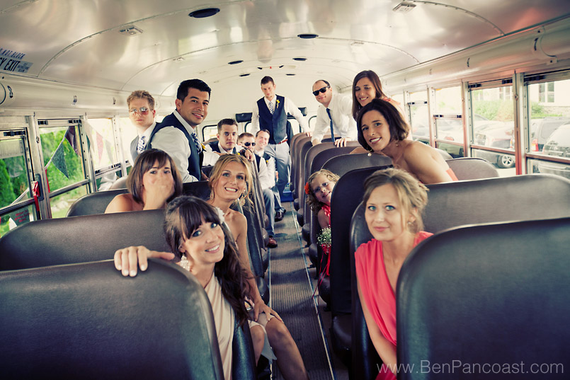 Jean Klock Beach, school bus, Wedding, wedding party rode in a yellow school bus to the ceremony