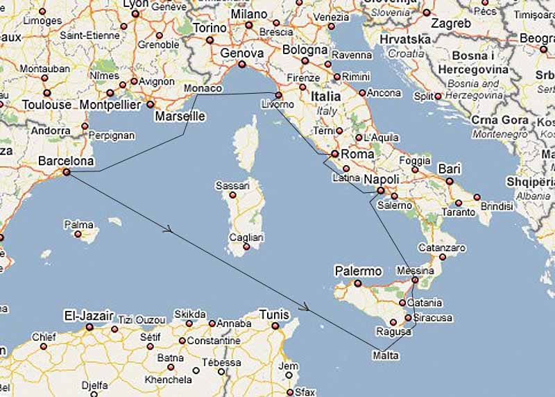 On The Map Below Of Western Mediterranean Ive Roughly Drawn Route Ship During Cruise