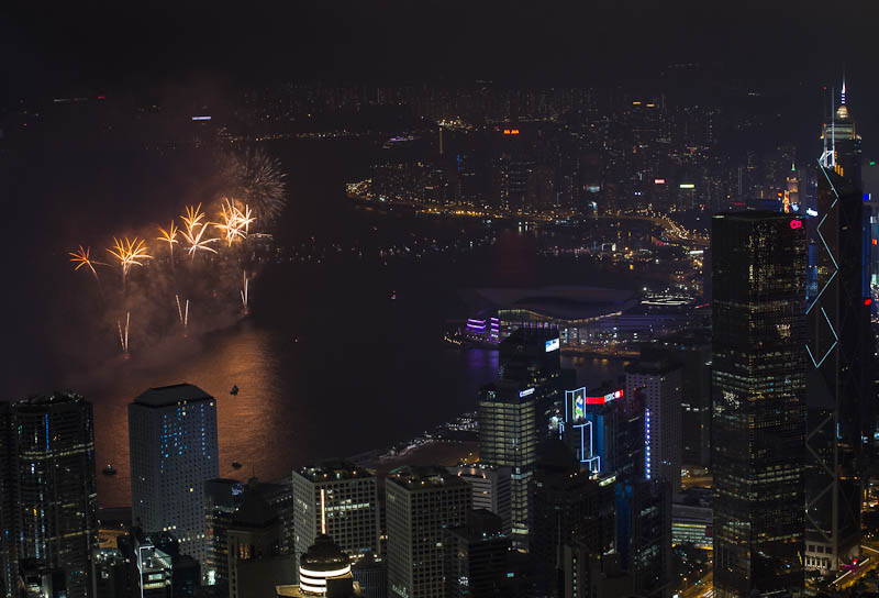 Fireworks seens from The Peak