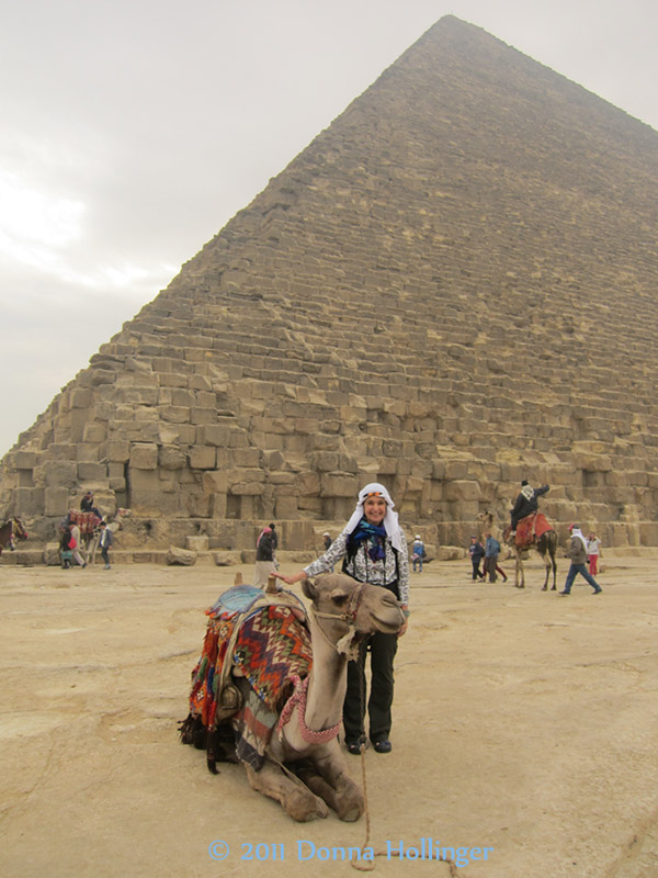 Donna with Cheops Pyramid and Camel