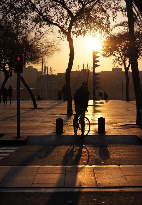 ciclista en espera