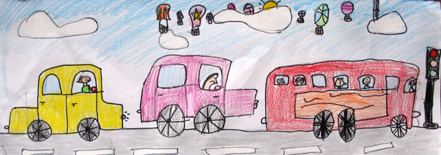 long paper - traffic jam, Polly, age:8