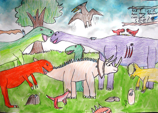 please count the dinosaurs, Kerry, age:9.5