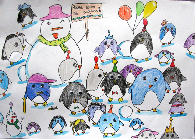please count the penguins, Victoria, age:7