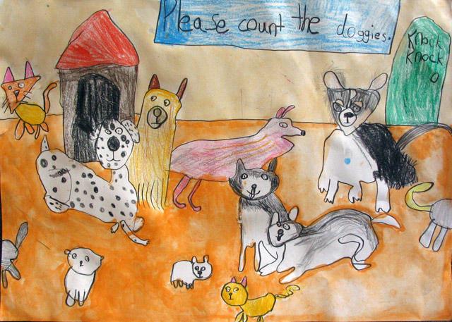 please count the dogs, Doris, age:6.5