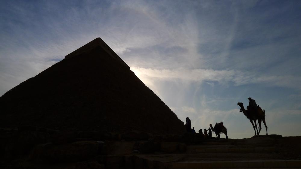 Ancient scene, the Pyramids, Cairo, Egypt, 2011