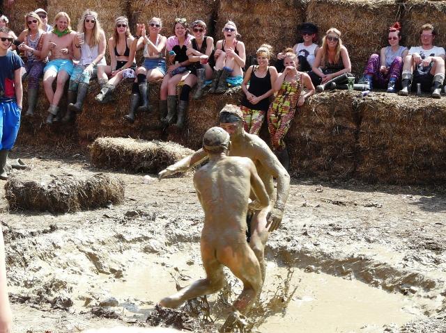Hen mud wrestling