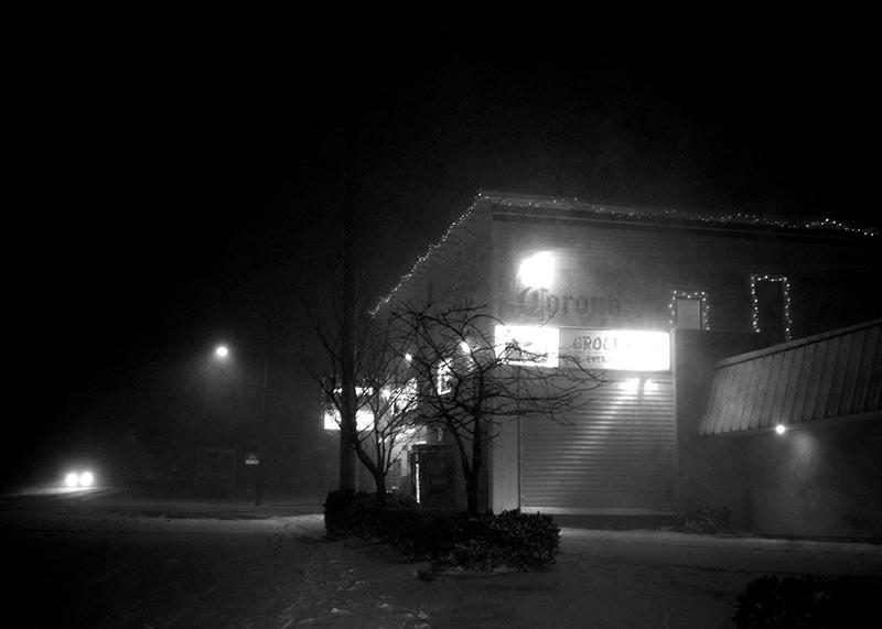 first snow, corner store