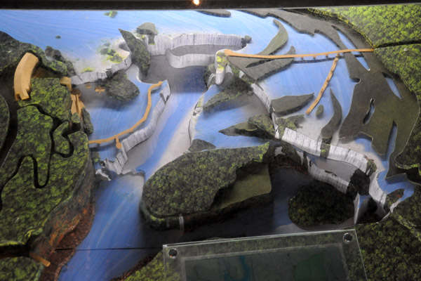A model of Iguaçu Falls at the Visitors Center showing the walkways on the Brazilian and Argentinian sides
