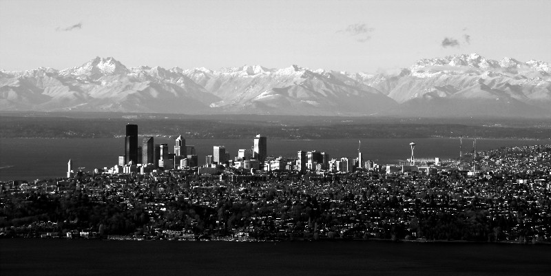 downtown Seattle and Olympic Mountain