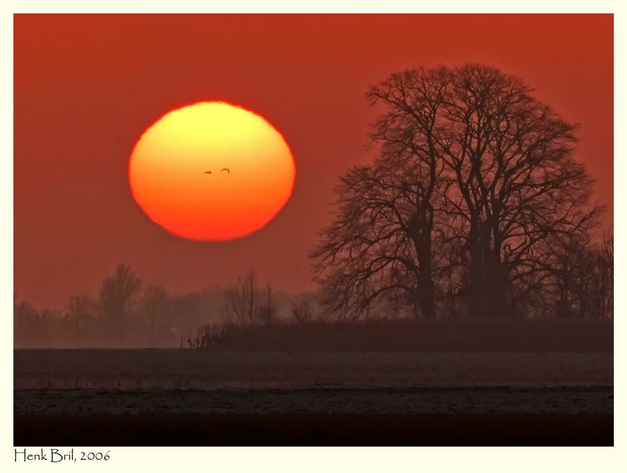 A cold sunrise giving a warm feeling