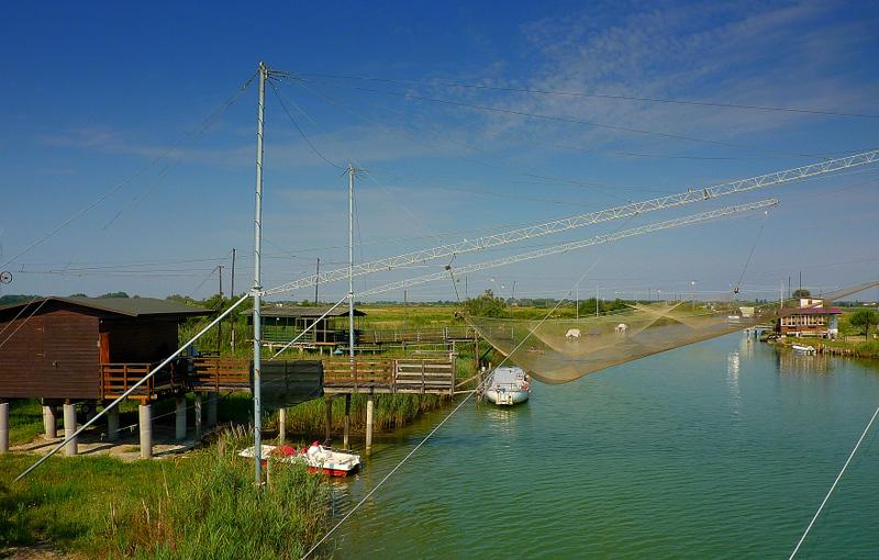 Fishermen huts, here the Savio river meets the sea.