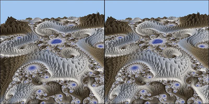 Mandelscape cross-eyed stereogram