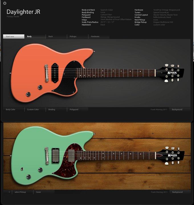 kauer guitars daylighter virtual builder the gear page. Black Bedroom Furniture Sets. Home Design Ideas