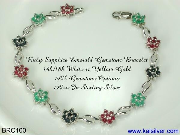Gemstone Bracelet From kaisilver, BRC100 Ruby Sapphire Emerald Bracelet