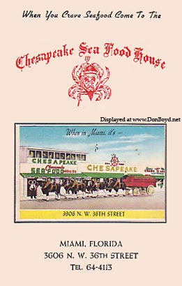 1950s - cover of menu for the Chesapeake Sea Food House, 3906 NW 36th Street, Miami